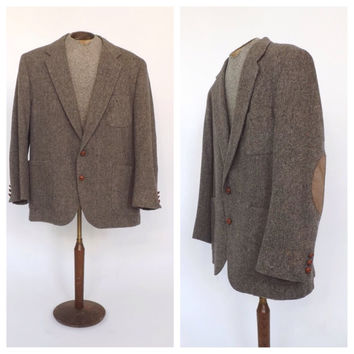 Vintage Men's Jacket Tan Wool Tweed Suede Elbow Patch Smoking Jacket John L Blair Blazer Coat Preppy Oxford Large Vintage Wedding Groom