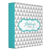 Gray Aqua Personalized Triangle School Binder
