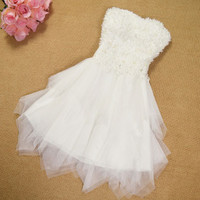 Pretty Floral Beading Irregular Layers Gauze Strapless Dress