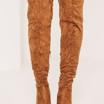 Missguided - Tan Rouched Over The Knee Boots