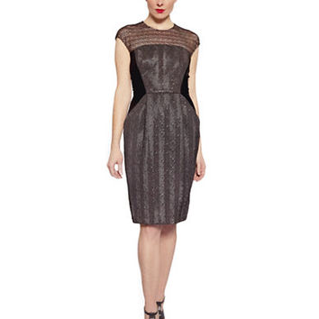 Carmen Marc Valvo Metallic Herringbone and Mesh Cap Sleeve Dress