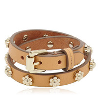 Mulberry - Double Wrap Flower Bracelet in Natural  Soft Saddle Shoulder
