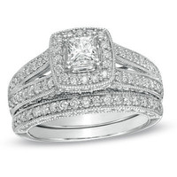 1-1/4 CT. T.W. Princess-Cut Diamond Frame Bridal Set in 14K White Gold - View All Rings - Zales