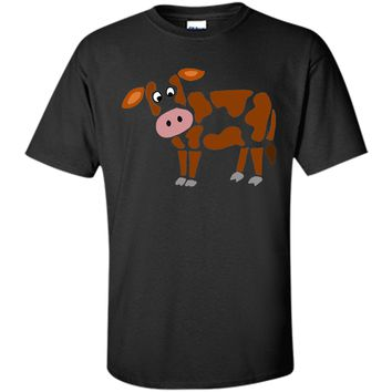 Adorable Cool Funny Funky Brown And White Cow Art 2017 T Shirt