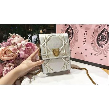 DIOR Stylish Women Shopping Leather Metal Chain Buckle Shoulder Bag Mobile Phone Package Satchel Crossbody Silver I-QS-MP-JZLB