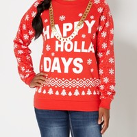 Happy Holla Days Snowflake Sweatshirt | Sweatshirts | rue21