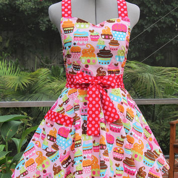 Sweetheart Hostess Apron-Pink Cupcakes-Vintage Inspired - Full of Twirl Flounce - Ready to ship