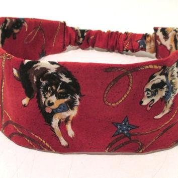 Womens Fabric Headband - Headband with Sheep Dogs - Country Reversible Headband