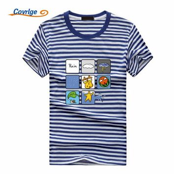 Covrlge Fashion Design Printed Striped T-Shirt Summer Novelty Cartoon TShirt Mens Fashion Hipster Cool Tee Shirt Tops MTS459
