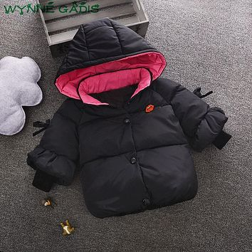 WYNNE GADIS Winter Cotton Down Baby Girls Solid Hooded Princess Thick Warm Parkas Kids Snow Wear Outerwear Coat Casaco
