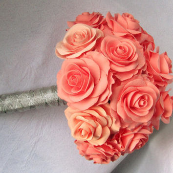 Salmon rose wedding bouquet -  coral - Bridal bouquet.  dark coral, peachy rose bouquet