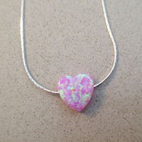 Heart opal necklace, light pink heart opal necklace, sterling silver 925 necklace, Valentine Day gift, romantic jewelry - October birthstone