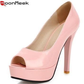 MoonMeek 2017 new fashion peep toe green nude pink women pumps high heels prom wedding