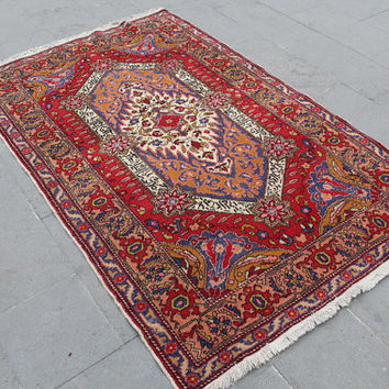 "Turkish Rug Carpet, Vintage Handwoven Wool Turkish Decorative Floor Wool Red Rug Carpet, Anatolian Home Decor Rug Carpet, 202 x 123cm81""x49"""