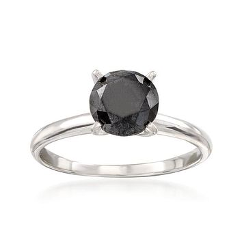 A Sophisticated Ethically Mined 1.5CT Round Cut Fancy Black Diamond Solitaire Ring