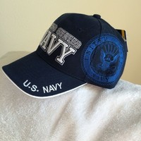 U. S. Navy New Dark Blue ball cap with Shadow logo and tags