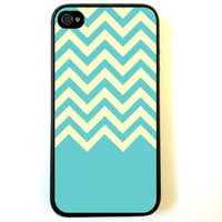 Teal Yellow Chevron iPhone 4 Case - For iPhone 4 4S 4G - Designer TPU Case Verizon AT&T Sprint