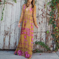 The Medallion Maxi Dress in Mustard