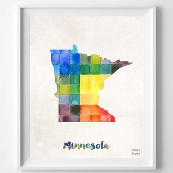 Minnesota, Map, Print, Saint Paul, Home Town, Dorm, USA, Poster, Watercolor, Painting, States, America, Wall Decor, Watercolour [NO 852]