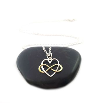 Infinity Heart Charm with Bronze Infinity Necklace - Sterling Silver Jewelry