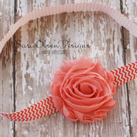 Rosette Headband, Light Coral Chevron, Shabby Chic Frayed Rosette, Elastic Headband, Baby Headband, Chevron FOE Headband, Girls Headband