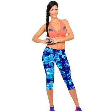 PEAPON Hot Brand New Capris Women  Leggings Workout High Waist Floral Printing Casual Wear Super Soft