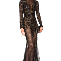 Zuhair Murad Embroidered Lace Gown in Black | FWRD