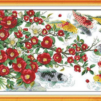 new Flowers and fishes DMC Animal cross stitch kits 14ct white 11ct printed embroidery DIY handmade needle work wall home decor