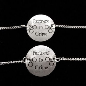 2 Bracelets Partners In Crime Handcuff Best Friends Sisters Set
