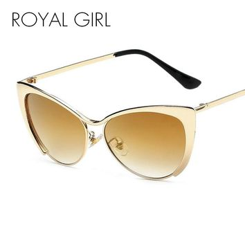 ROYAL GIRL High Quality Metal Super Cute Cat Eye Sunglasses Women Brand Designer Vintage Retro Glasses Fashion Girls ss042