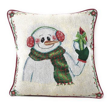 "DaDa Bedding Magical Snowman Throw Pillow Cover Tapestry Cushion Cases 16"" x 16"" (9733)"