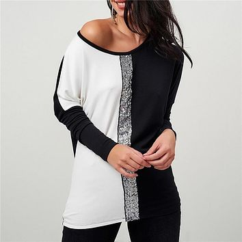 Ladies Tops and Blouses 2019 Off Shoulder Long Sleeve Shirt Sequined Patchwork Tunic Casual Loose Tops Plus Size Chemise Femme