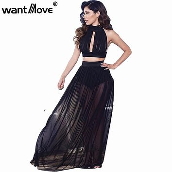 Wantmove chiffon 2017 summer beach long dress black white women 2 piece sexy club wear party clothing boh beach maxi dress XD025