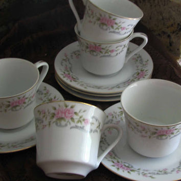 Vintage Rose Tea Set  Fine China Pink Rose Pattern , 10pc Set,  Pretty Bridal Shower Gift, Great With Any Home Decor