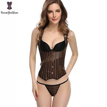 Steampunk Corset Vest Style Underbust Push Up Striped Fabric Spiral Steel Boned Corselet Belt Pocket Punk Coffee Outwear Bustier
