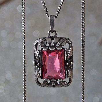 Signed Art Deco/Belle Epoque Sterling Silver and Large Faux Ruby Pomegranate Red Emerald Cut Pendant Necklace Czech
