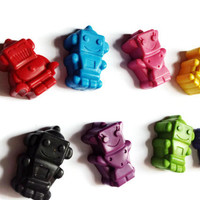 8 RECYCLED ROBOT CRAYONS handmade from broken crayons