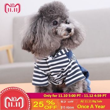 Trendy Free shipping Dog Clothes Denim spring jacket Fashion Pet Vest Cowboy Clothing For Yorkshire Chihuahua Teddy Dogs Cat Coat Jeans AT_94_13