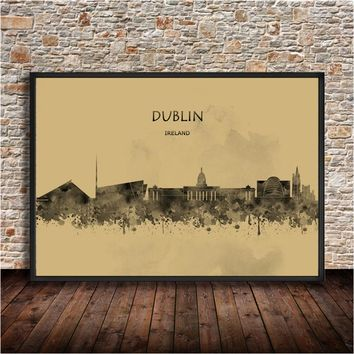 World City Abstract Painting DUblin Ireland Krafts Paper Poster Watercolor Wall Sticker House Decor Living Room Bar Cafe Bedroom