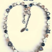 "Swarovski crystal necklace, 8mm neutrals, blues and white opals , ""Très Chic"",  Siggy exclusive"