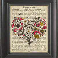 A Valentine heart  - Printed on Definition of love page  -  250Gram paper. Valentines Day