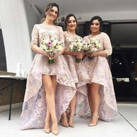 Maid Of Honor Bridesmaid Dresses High Low Half Sleeves Wedding Party Dress Appliques Organza Formal Dress