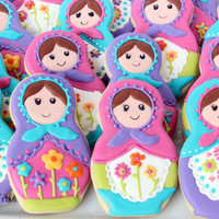 Matryoshka/Russian Nesting Doll Decorated Cookies, Birthday Cookies, Girls Birthday Cookies, Russian Nesting Doll Party, Matryoshka Birthday