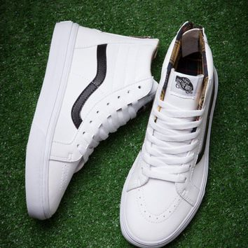 Vans Sk8-Hi White High Top Sneaker Flats Shoes Sport Shoes