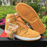 Air Jordan 1 OG Wheat Yellow Men Basketball Sneaker