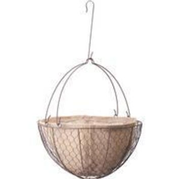 Panacea Products - Rustic Hanging Basket With Burlap Liner & S Hook
