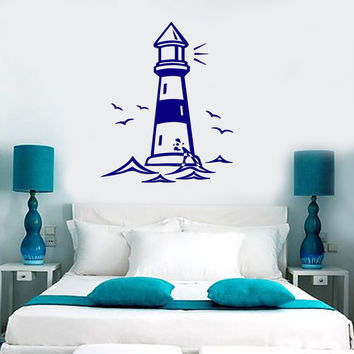 Vinyl Decal Castle Lighthouse Birds Ocean Gull Living Room Beach House Decor Wall Sticker (z2522)