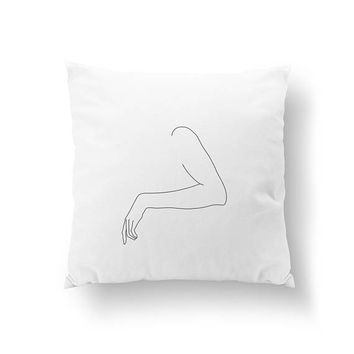 Female Shoulder Pillow, Female Body, Black And White, Cushion Cover, Home Decor, Woman Illustration, Bed Pillow, Throw Pillow, Line Drawing