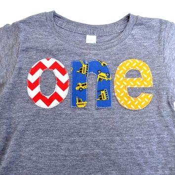 Triblend grey one Birthday Shirt for boys 1st Birthday - primary colors red chevron, construction trucks, yellow truck