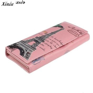 Butterfly Eiffel Tower Printing Women Wallet Credit Card Holder